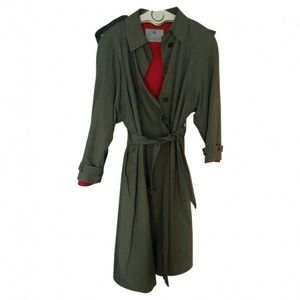 Vintage Aquascutum Green Moire Lined Trench Coat